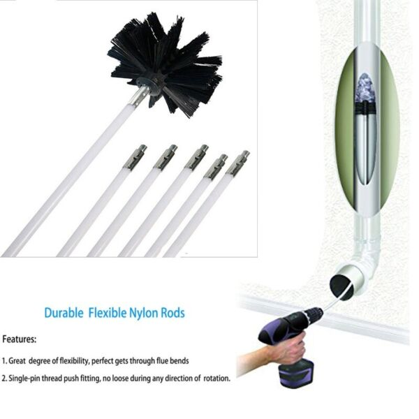 4inch Chimney Cleaner Brush Rotary Sweep Flexible Rod Dia Fireplace Cleaning Kit