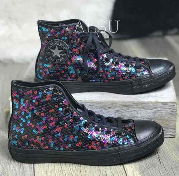 Sneakers Women's Converse Chuck Taylor All Star Sequins High Top Black Pink