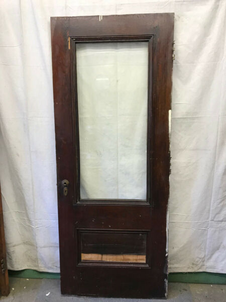 Full Beveled Glass Salvaged Front Wood Door Architectural Vintage 32x80 $300.00