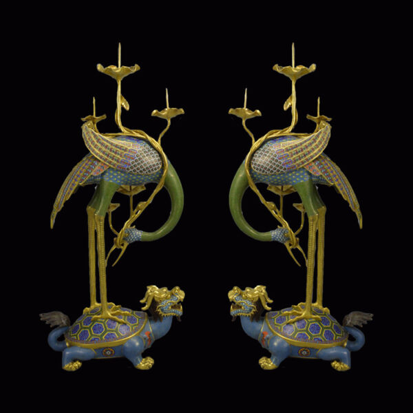 Royal 100% Bronze 24K Gold Cloisonne Crane on Dragon Dynasty Candle Holders pair