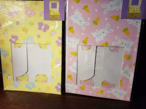 NEW 2 PACKS =4 EASTER THEME CUPCAKE BOXES 6quot; X 6quot; X 3quot; BUNNY BUTTERFLY HOLDS 4