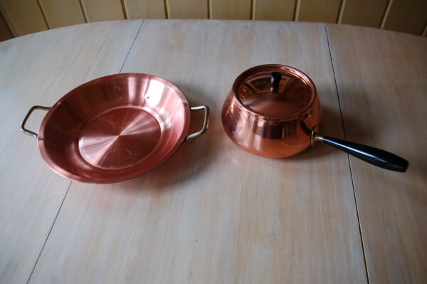 3 pc SOLID COPPER cookware: pan amp; pot with lid
