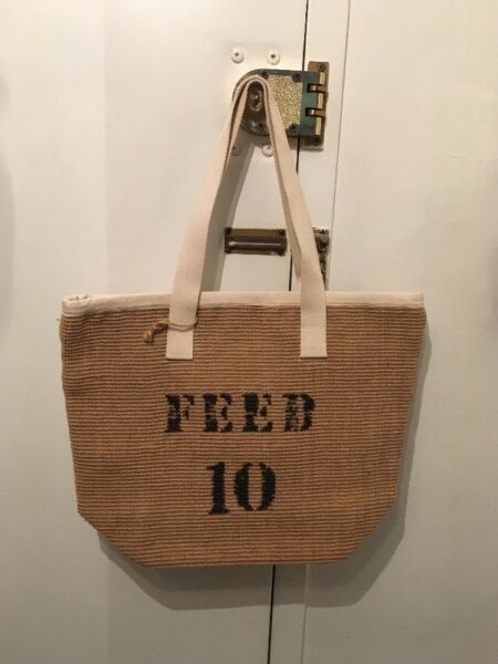 FEED 10 LARGE BEIGE SAND CANVAS BURLAP TOTE