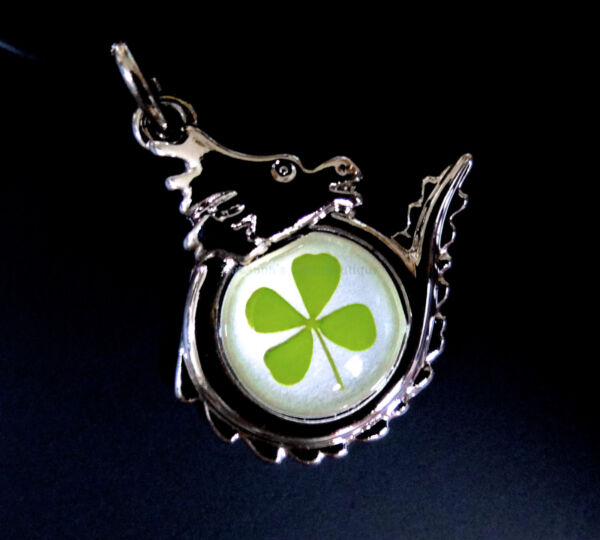 Real four leaf clover shamrock on dragon pendant (cord 19