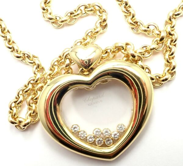 Authentic! Chopard 18k  Yellow Gold Large Happy Diamond Heart Pendant Necklace