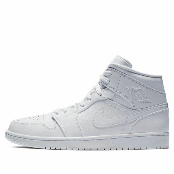 New Men's Air Jordan 1 Mid Retro Shoes (554724-129)  White / White-White