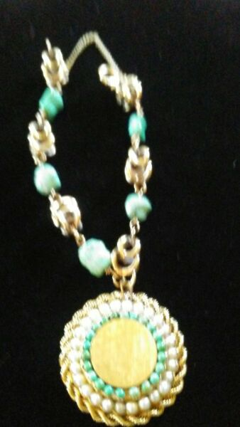 Stunning estate 14kt gold heavy turquoise and pearl disc charm bracelet---32.4 g