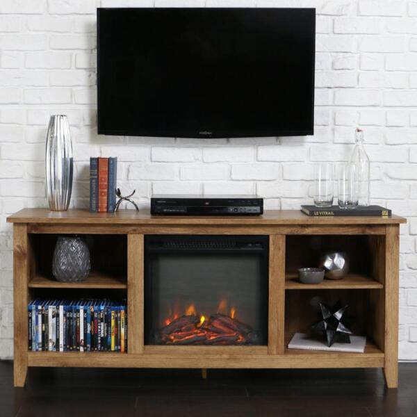 Electric Fireplace TV Stand Barn Wood Rustic Media Center Console Storage Heater
