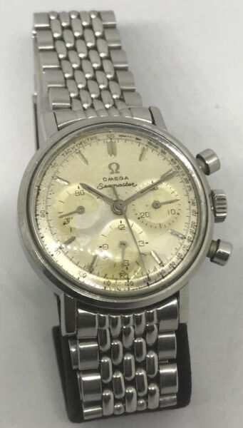 Vintage Omega Seamaster S Steel Chronograph Cal. 321 With Beads Of Rice Bracelet
