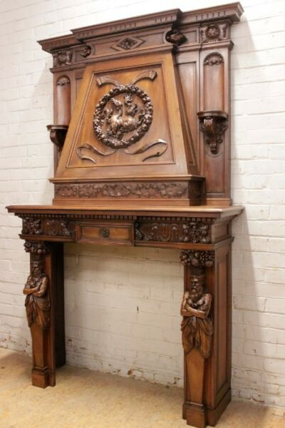 EXCEPTIONAL ANTIQUE CARVED WALNUT FRENCH GOTHIC RENAISSANCE  FIREPLACE MANTEL