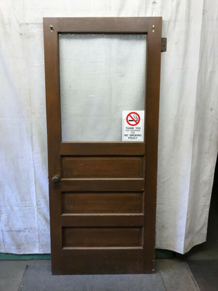 Wood Door with 1 Pane of Privacy Glass Architectural Salvage 35 3 4x83 1 2 $325.00