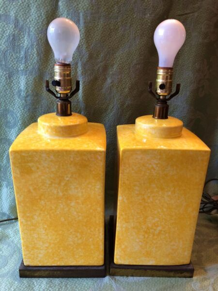 Pair Paul Hanson Vtg Mid Century Modern Yellow Ceramic Lamps