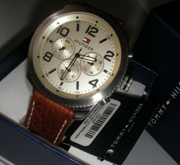New Tommy Hilfiger Watch Men#x27;s WristwatchGraham 1791107 Solid Case leather band $129.00