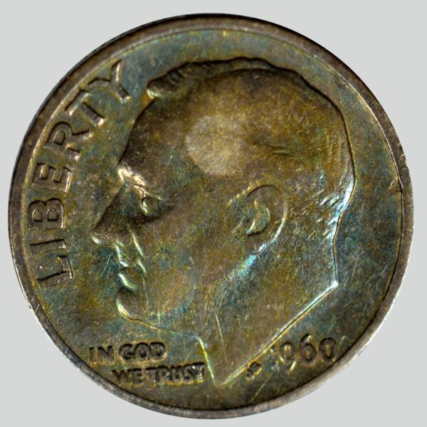 1960 10C Roosevelt Dime Non natural Color pretty blue in hand
