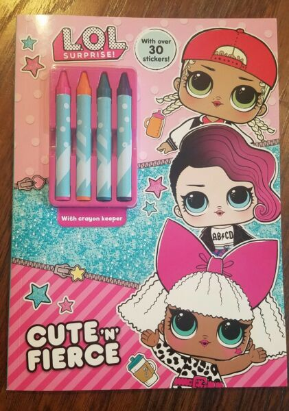 NEW LOL SURPRISE DOLL CUTE N FIERCE COLORING ACTIVITY CRAYON BOOK STICKERS