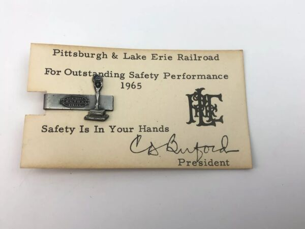 1965 Pittsburgh amp; Lake Wore Railroad New York System Safety Award Tie Bar $29.99