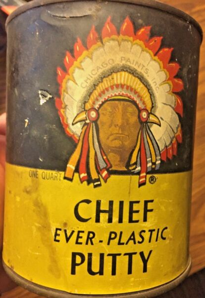 Vntg CHICAGO PAINTS INC CHIEF EVER-PLASTIC PUTTY CAN FULL QT METAL PAPER LABEL