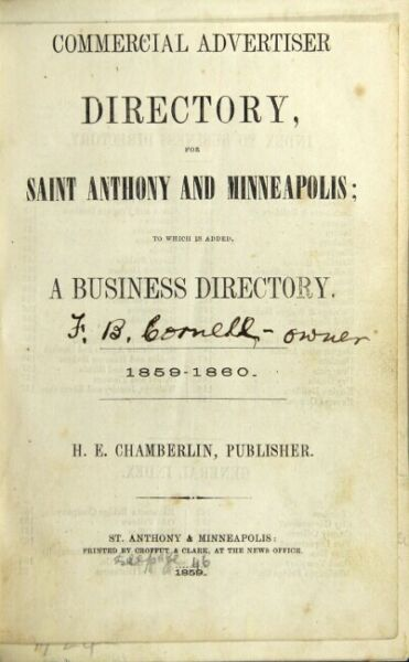 Commercial advertiser directory for Saint Anthony and Minneapolis to which 1st