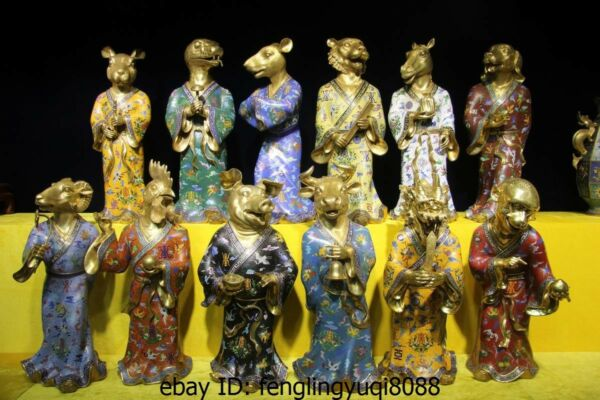 China Old palace Pure Bronze Gold Gilt cloisonne animal twelve Zodiac Statue Set