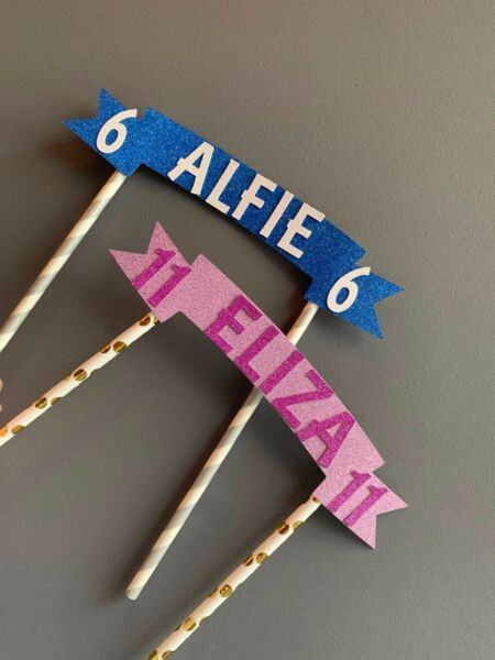 BANNER BUNTING cake topper football banner any name number made to order