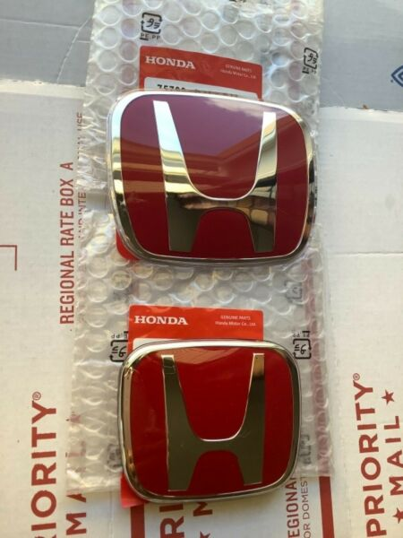 06-11 Honda Civic 2DR Coupe JDM RED H Type R - Front Rear Emblem 2PCS Set EX SI