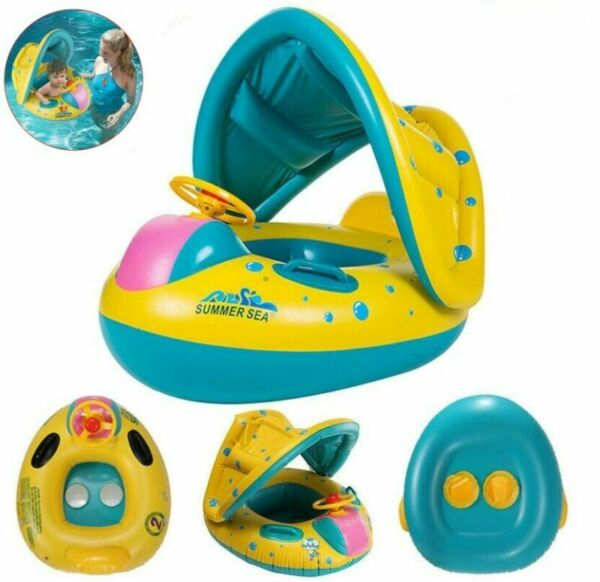 Blue Inflatable Baby Swim Ring Toddler Float Swimming Pool Water Seat Canopy