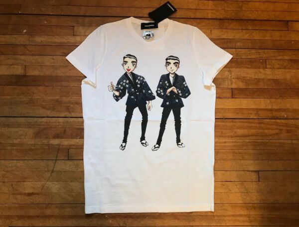 DSQUARED² COOL WHITE ANIME ASIAN TWINS BROTHERS PRINT COTTON T SHIRT S MEDIUM $147.50