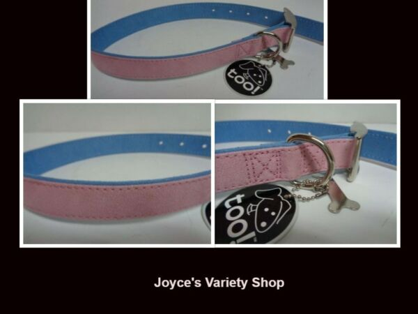 Fancy Dog Collar NWT Adjustable 22quot; Large Size Breed Pinkamp;Blue Soft Faux Leather $8.99