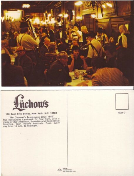 Vintage Chrome Postcard featuring Lüchow's German Restaurant in Manhattan NYC