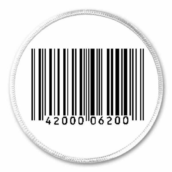 Barcode Bar Code 3quot; Circle Sew Iron On Patch Number Scan Gift Present