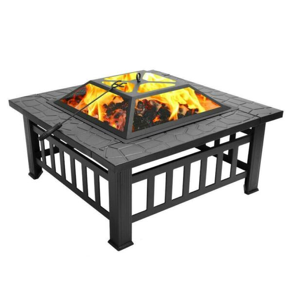 32quot; Square Metal Fire Pit Outdoor Patio Heater Fireplace Backyard Stove