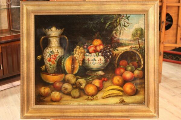 Painting still life oil on canvas frame work of art antique style antiquity 900