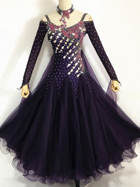 Ballroom Tango Smooth Competition Dance Dress Purple Waltz American Custom made