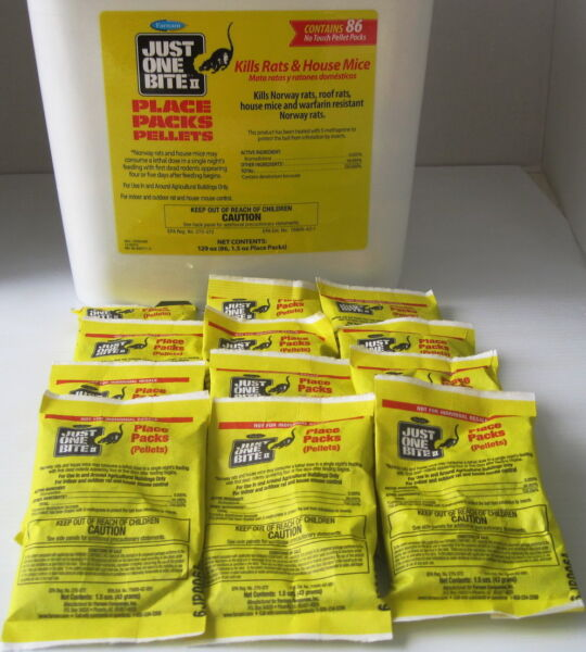Just One Bite II Pellets - 12 Packs -1.5 Oz Each Rat & Mouse Poison - Free Ship