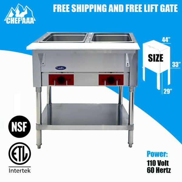 Food Warmer Bain Marie Steam Table Steamer Commercial Electric Wet Heat 2Pan NSF