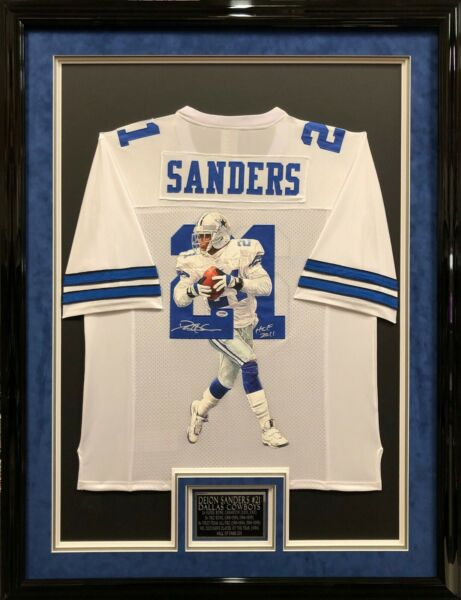 Deion Sanders SignedFramed Hand Painted Dallas Cowboys Football Jersey *HOF PSA