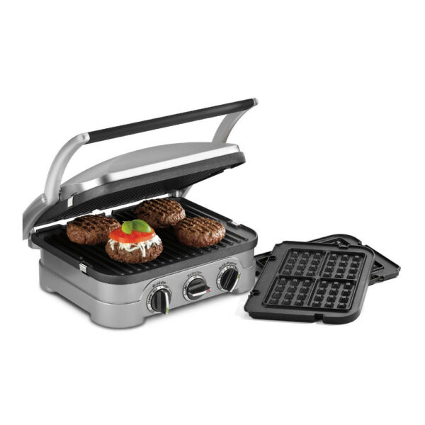 Cuisinart GR-4N 5-in-1 Grill Griddler Panini Maker w Waffle Plate Attachments