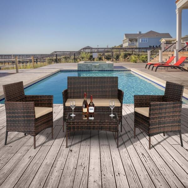 Oshion 4PCS Outdoor Patio Rattan Wicker Table Shelf Sofa Furniture Setamp; Cushion