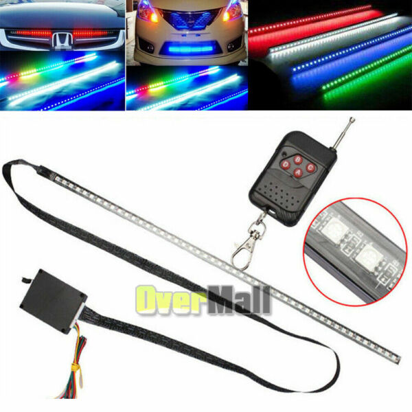 22quot; 7 Color RGB LED Knight Rider Strip Light For Under Hood Behind Grille