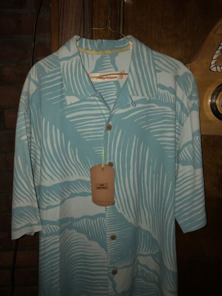 Tommy Bahama NWT 100% Silk Small Blue Button Up Hawaiian Styled Tommy Shirt $50.00