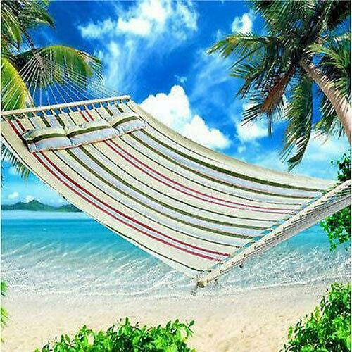 New 2 Person Hammock Cotton Sleeping Bed Camping Double w Pillow Heavy Duty $44.99