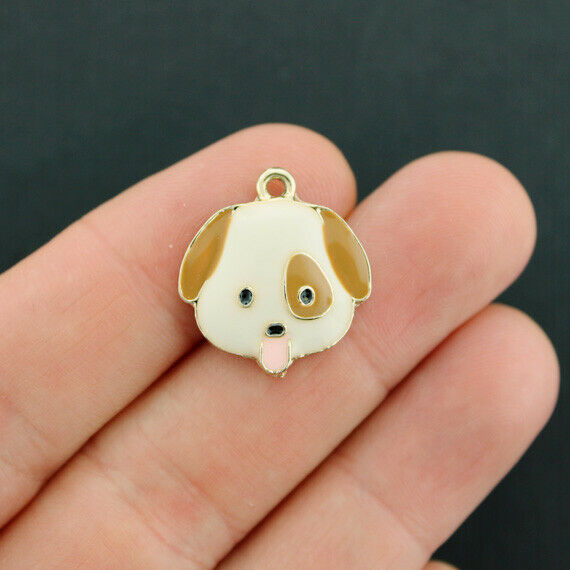 2 Dog Charms Gold Tone Enamel Brown And White E634 $4.99