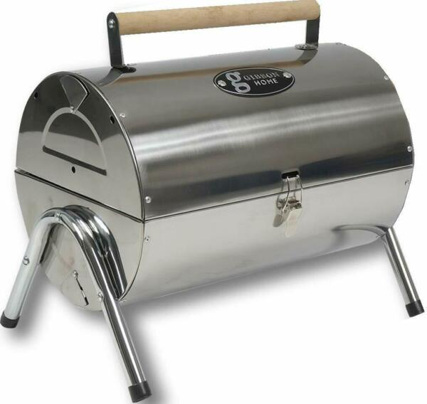 Gibson Home Wilkerson Double Barrel Stainless Steel BBQ Grill W Lock and Legs