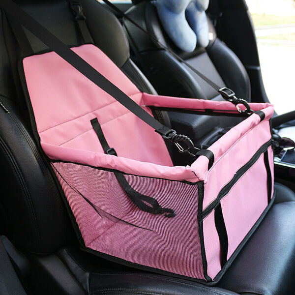 Dog Booster Car Seat Cover Foldable Carrier Bag Safety Belt For Pet Up to 15lbs $15.88