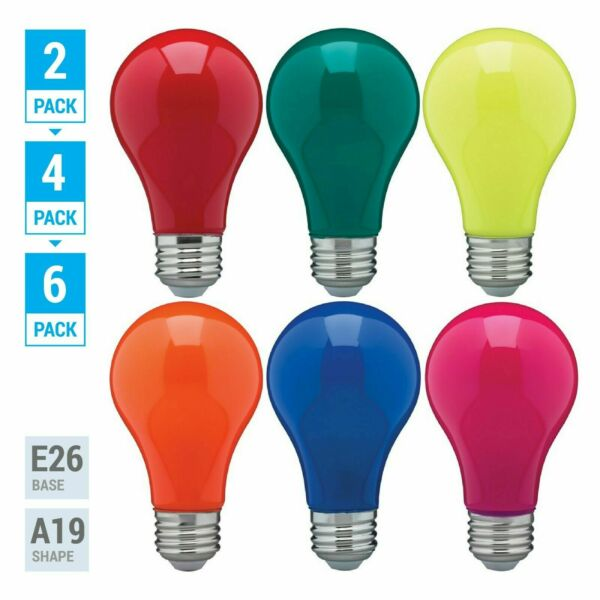 Pack LED BULB BLUE GREEN RED YELLOW ORANGE PINK A19 Medium E26 60W Watt Dimmable