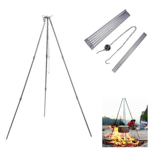Portable Camping Tripod Campfire Grill Stand Pot Fire Hanger Outdoor BBQ Cooking