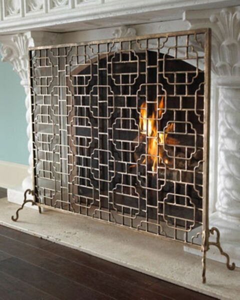NEW LARGE 48quot; Horchow Single Panel Burnished Gold Finish Fireplace Screen Modern
