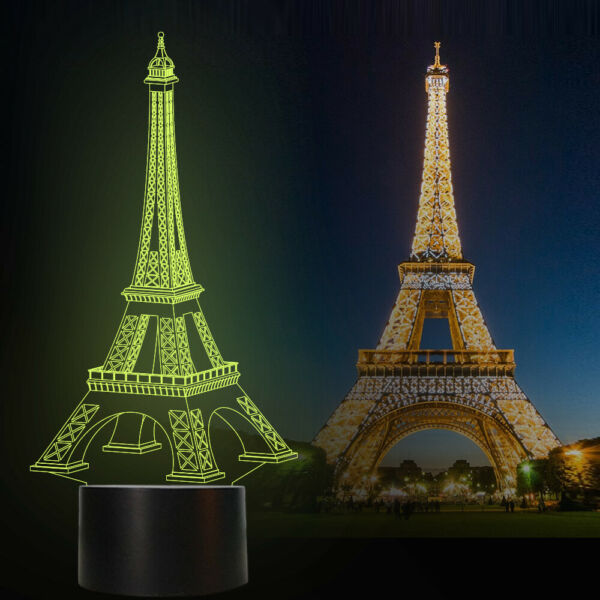Eiffel Tower 3D Illusion Lamp 16 Colors LED Night Light for Bedroom Decor Lamps