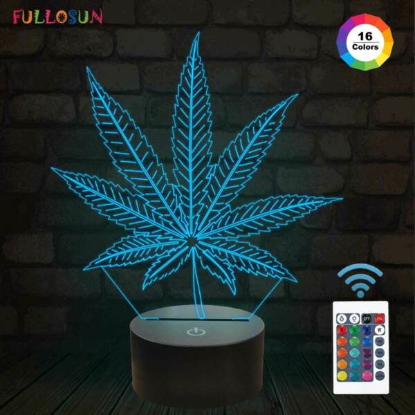 3D Night Light Cannabis Marijuana Lamp with 16 Color LED Weed Leaf Lamp as Gifts