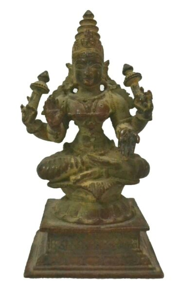 Copper Goddess Laxmi Statue Idol Vintage Collectible Sculpture Decorative